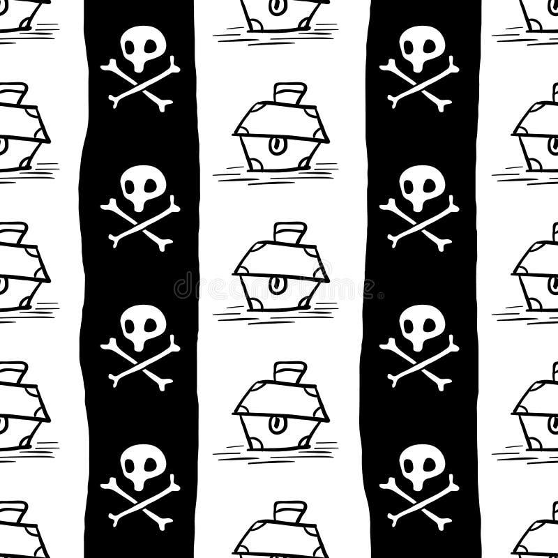 Piratkopierar den sömlösa modellen, svart för flaggabakgrund för kapten Jolly Roger tapet, målade den repeatable roliga handen te stock illustrationer