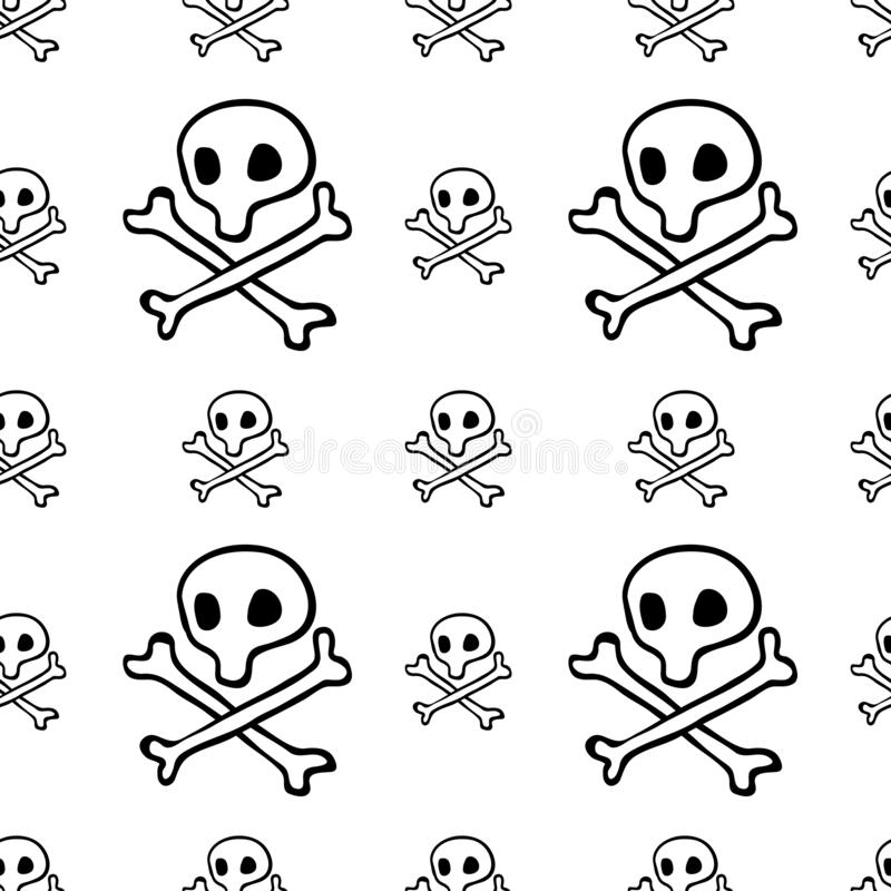 Piratkopierar den sömlösa modellen, svart för flaggabakgrund för kapten Jolly Roger tapet, målade den repeatable roliga handen te stock illustrationer