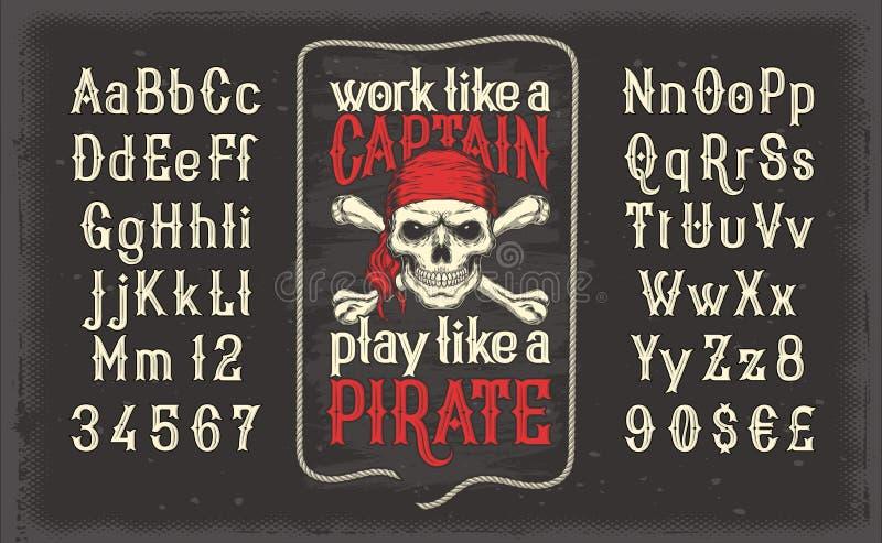 Piratkopierar den vita tappningstilsorten för vektorn, det latinska alfabetet med retro trycket med skallen och korslagda benknot stock illustrationer