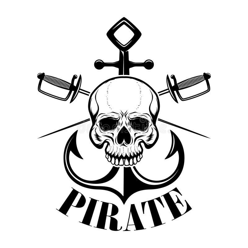 Piratkopierar Emblemmallen med svärd och piratkopierar skallen Planlägg beståndsdelen för logoen, etiketten, emblemet, tecken vektor illustrationer