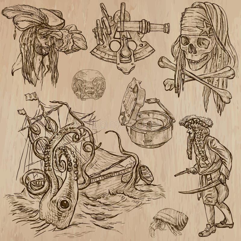 Piratkopierar (inte 7) - en hand dragen vektorpacke stock illustrationer