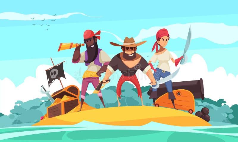 Piratkopierar på havssammansättning stock illustrationer