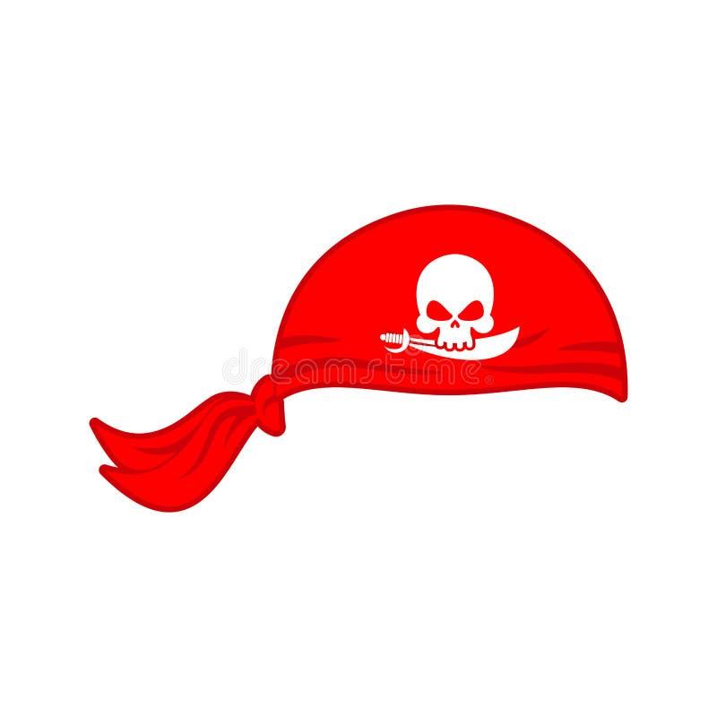 Piratkopierar röda det isolerade Bandanalocket Hattsjörövare benar ur skallen stock illustrationer