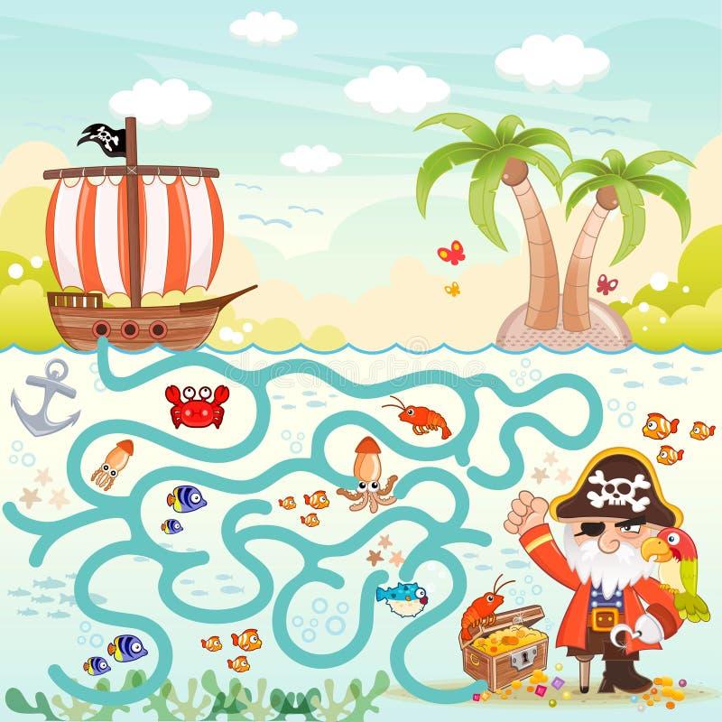 Piratkopierar & skattlabyrint för ungar vektor illustrationer