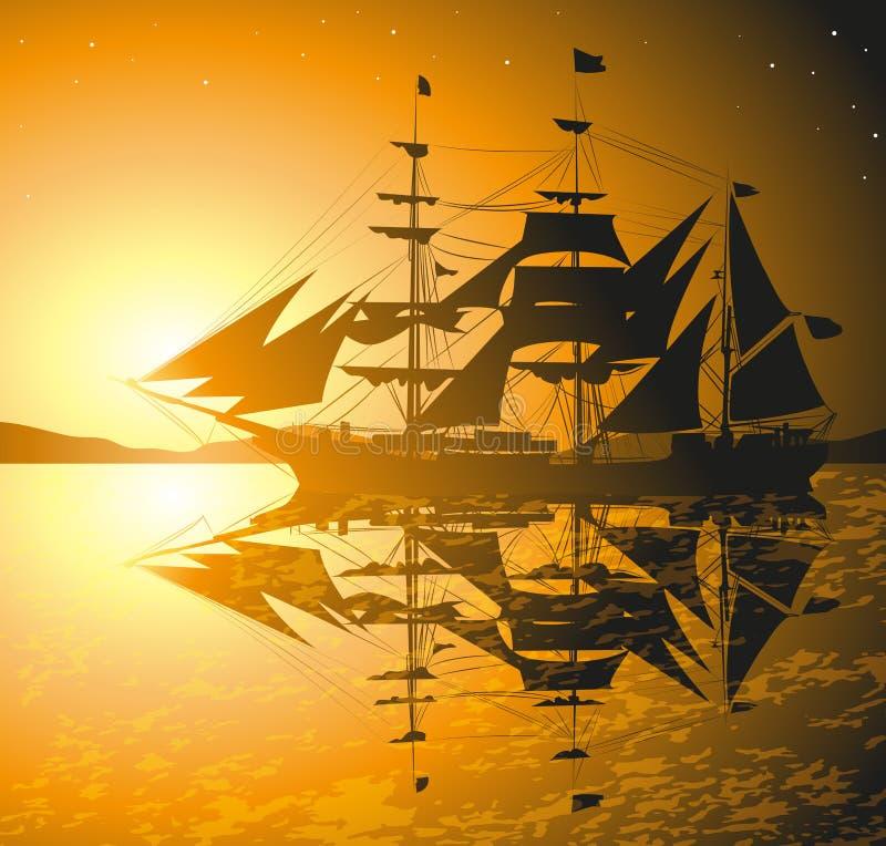 Piratkopierar skeppet royaltyfri illustrationer