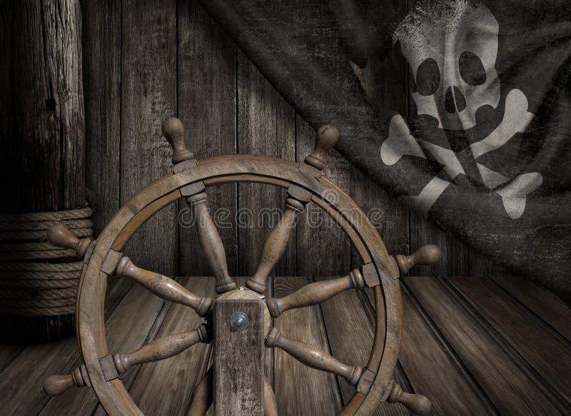 Piratkopierar skeppstyrninghjulet med gamla glade roger royaltyfria bilder