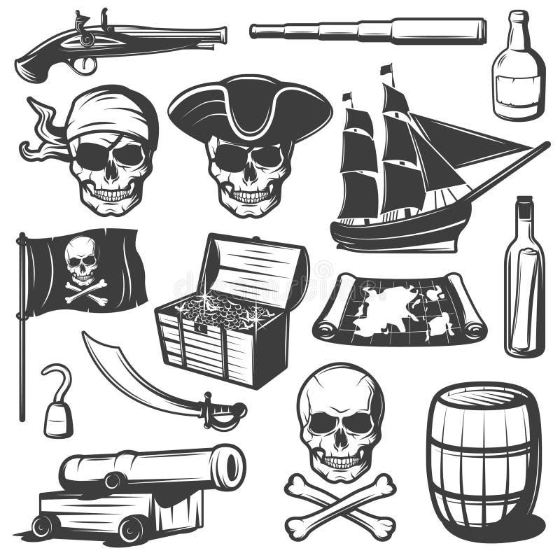 Piratkopierar symbolsuppsättningen stock illustrationer