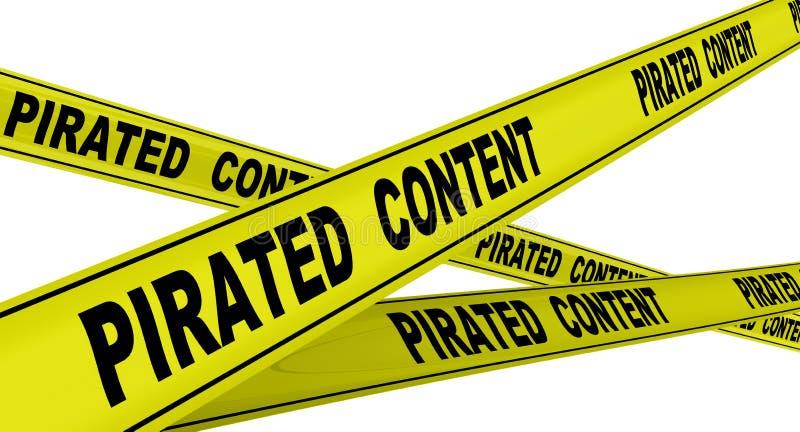 Piratkopierat innehåll Märkta gula varnande band vektor illustrationer