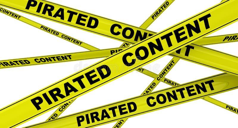 Piratkopierat innehåll Märkta gula varnande band royaltyfri illustrationer
