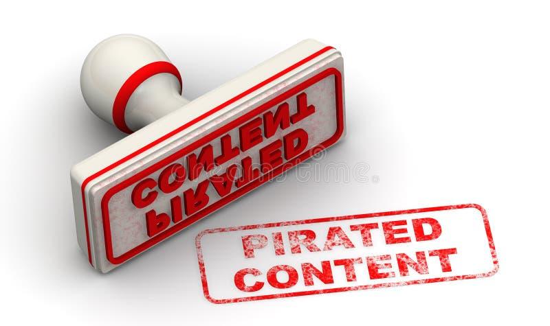 Piratkopierat inneh?ll Skyddsremsa och avtryck royaltyfri illustrationer