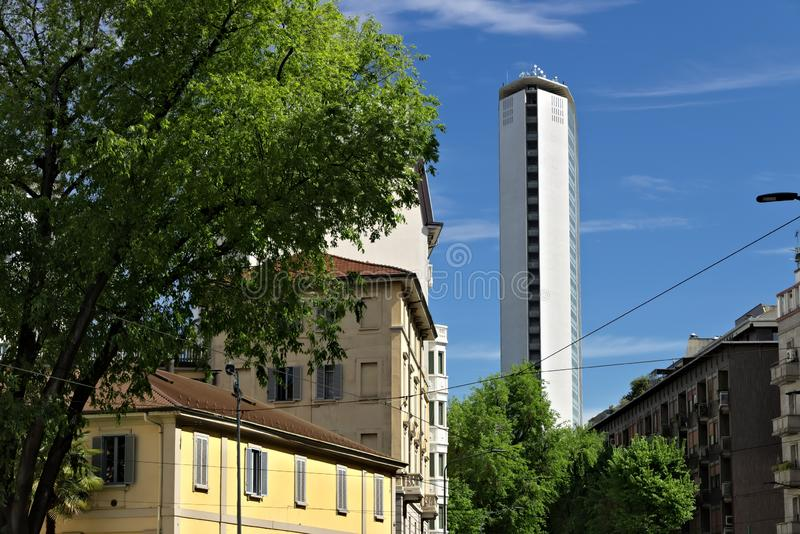 Pirelli skyscraper in Piazza Duca d`Aosta in Milan. The famous skyscraper was designed by the architect Giò Ponti and is made of stock images