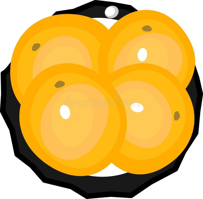 Pires com quatro laranjas ilustração stock