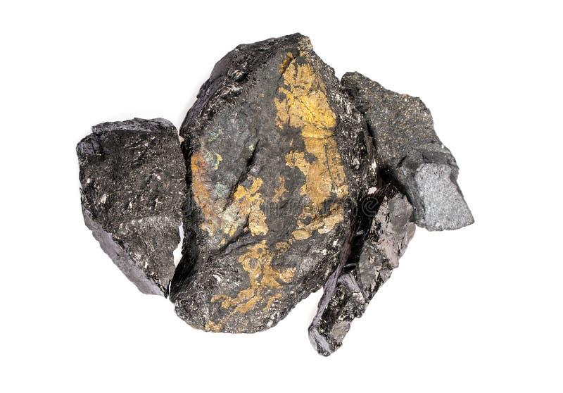 Pirite de carvão isolada no branco fotos de stock