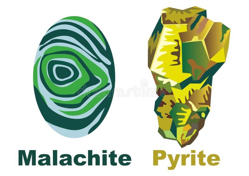 Pirite de cristal mineral da malaquite ilustração royalty free