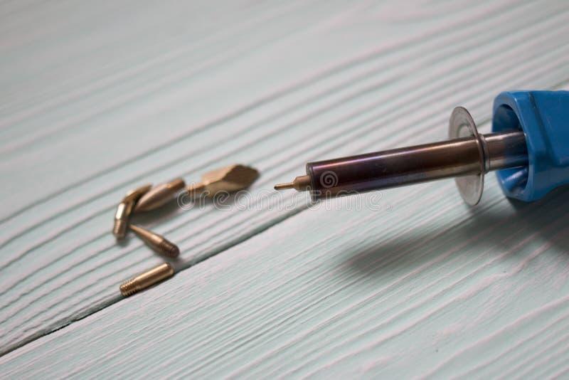 Pirografii palenia Drewniani narzędzia fotografia stock