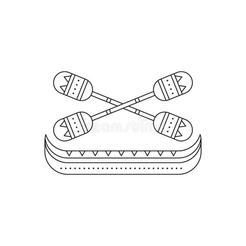 Pirogue com linha ícone dos remos ilustração royalty free