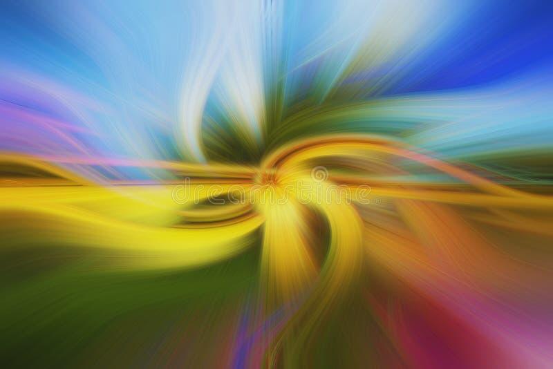 Pirouette aux nuances de vert, de rose, de jaune et de bleu, avec le regard brouillé par résumé image stock