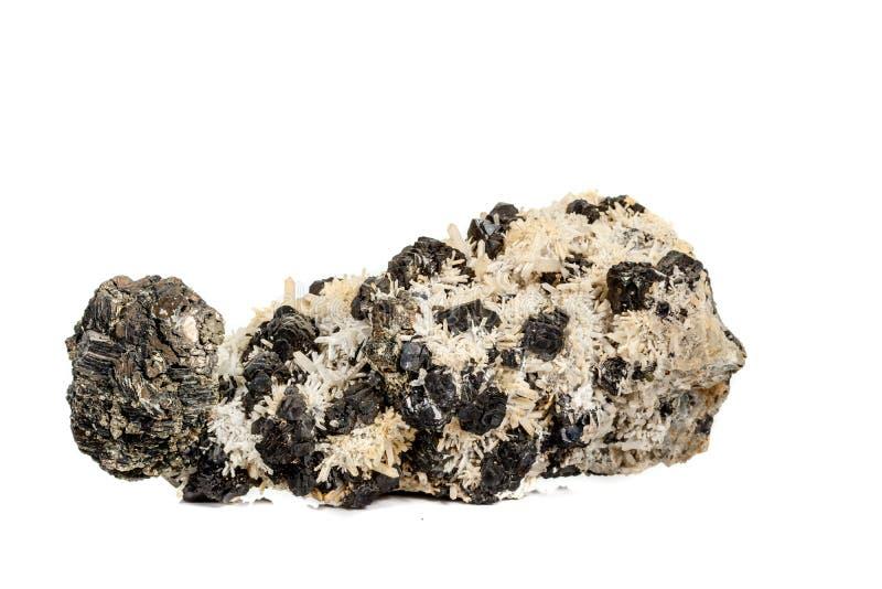 Pirrotita mineral de piedra macra, cuarzo, esfalerita, calcita, galena en el fondo blanco imagen de archivo libre de regalías