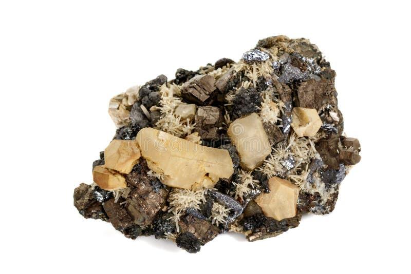 Pirrotita mineral de piedra macra, cuarzo, esfalerita, calcita, galena en el fondo blanco fotos de archivo