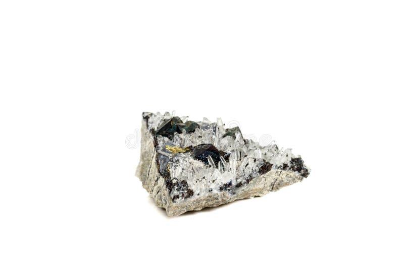 Pirrotita mineral de piedra macra, cuarzo, esfalerita, calcita, galena en el fondo blanco fotos de archivo libres de regalías
