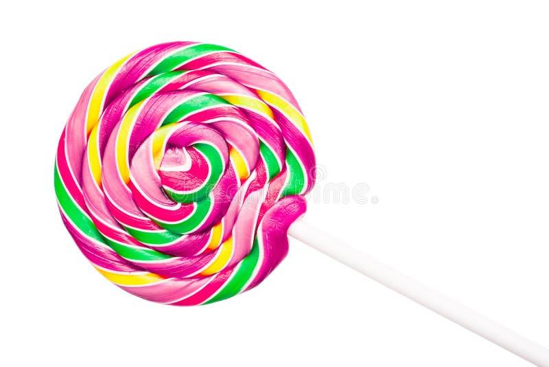 Piruleta espiral colorida dulce fotografía de archivo libre de regalías