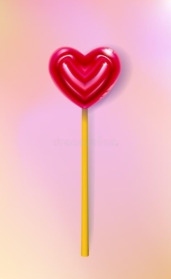 Piruleta realista del corazón del vector, primer del caramelo 3d, tarjeta de felicitación feliz de día de San Valentín, bandera A ilustración del vector