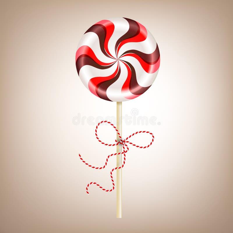 Piruleta rojo marrón rayada redonda brillante con el cordón decorativo Caramelo de la baya y de chocolate en un palillo Vector re libre illustration