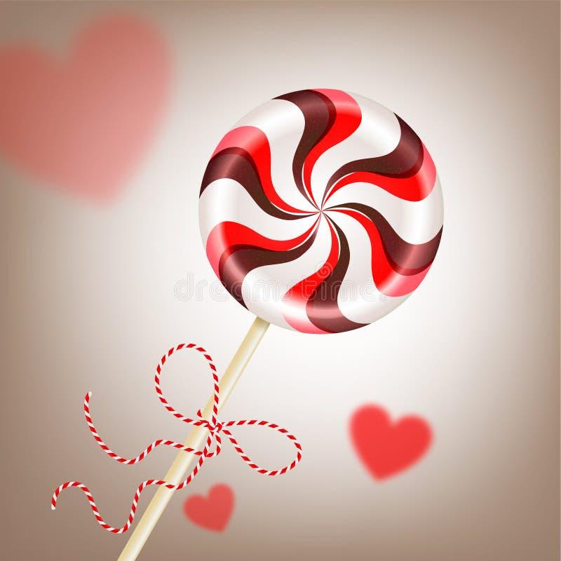 Piruleta rojo marrón rayada redonda brillante con el cordón decorativo y corazones borrosos Caramelo de la baya y de chocolate en libre illustration