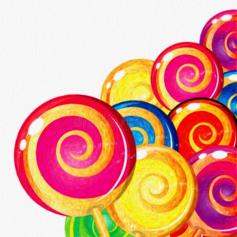 Piruletas coloridas de la acuarela en el fondo blanco Comida dulce ilustración del vector