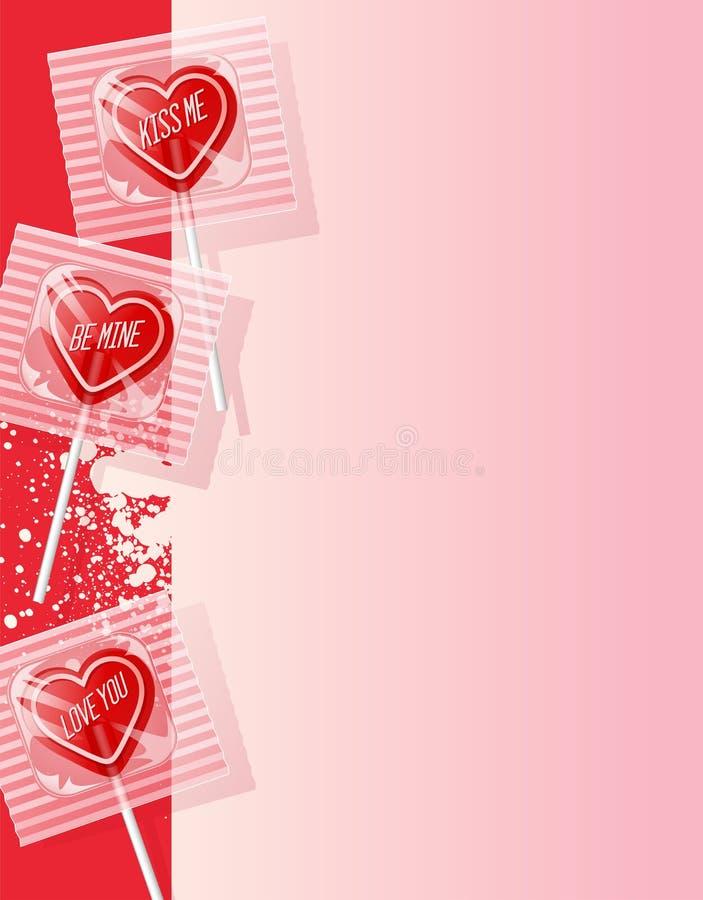 Piruletas en forma de corazón de la tarjeta del día de San Valentín retra en fondo rosado ilustración del vector