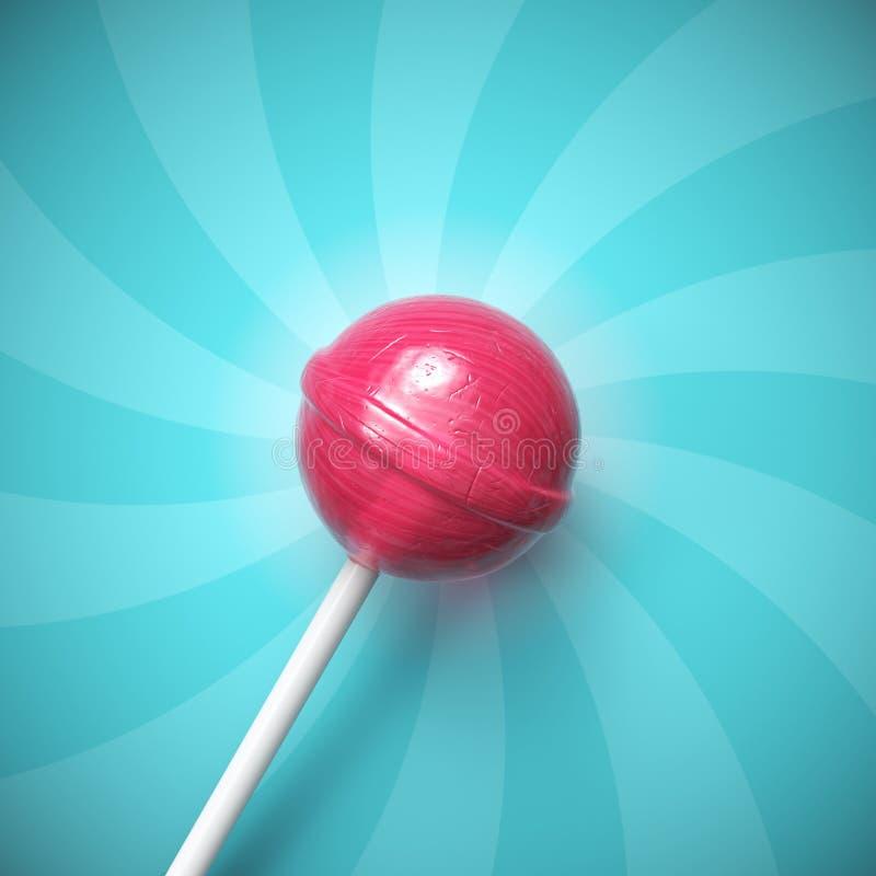 Pirulito cor-de-rosa doce na vara no fundo listrado azul ilustração stock