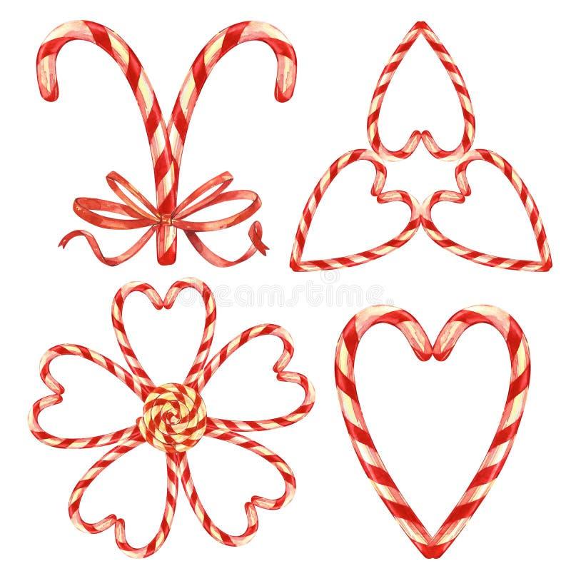 Pirulito, curva e bagas Grupo de ilustrações da aquarela do doce do Natal Símbolo do ano novo feliz isolado sobre ilustração stock