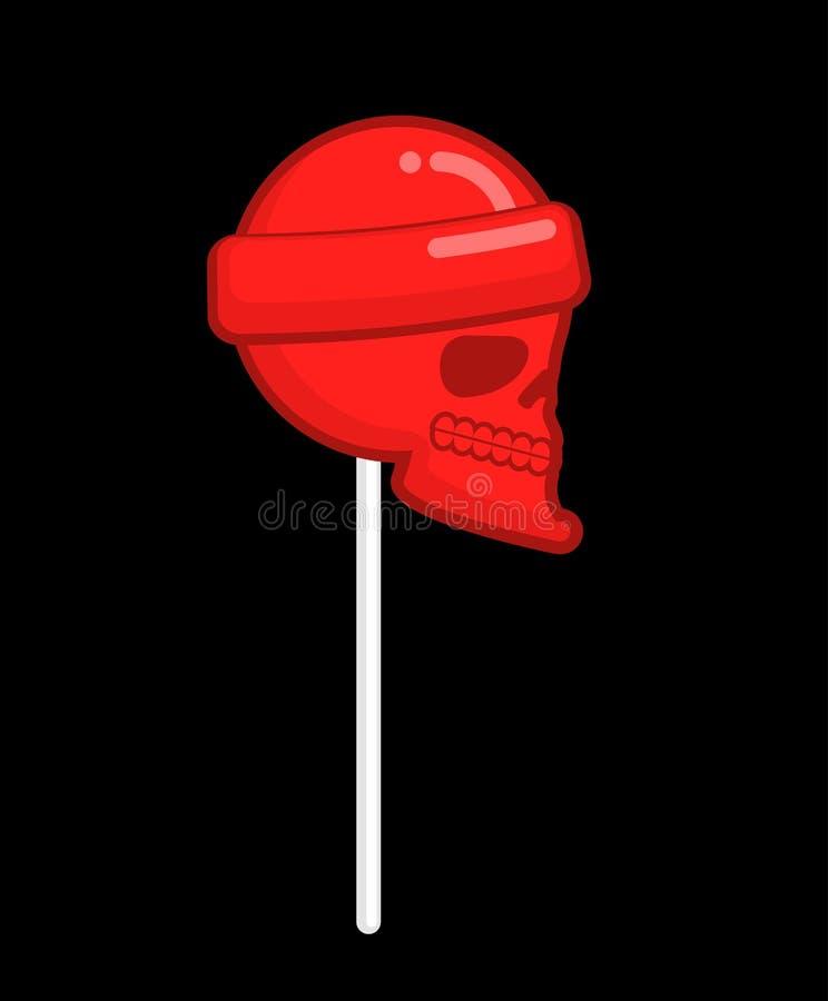 Pirulito do crânio cabeça do esqueleto dos doces Doçura mortal para Hallow ilustração royalty free