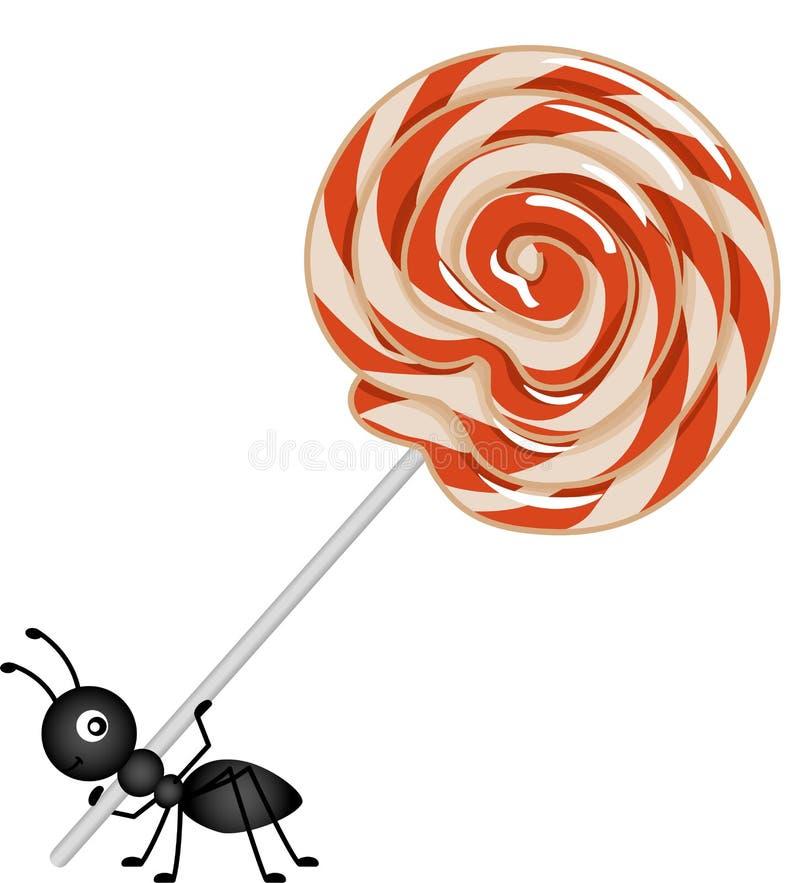 Pirulito que está sendo levado por uma formiga ilustração stock