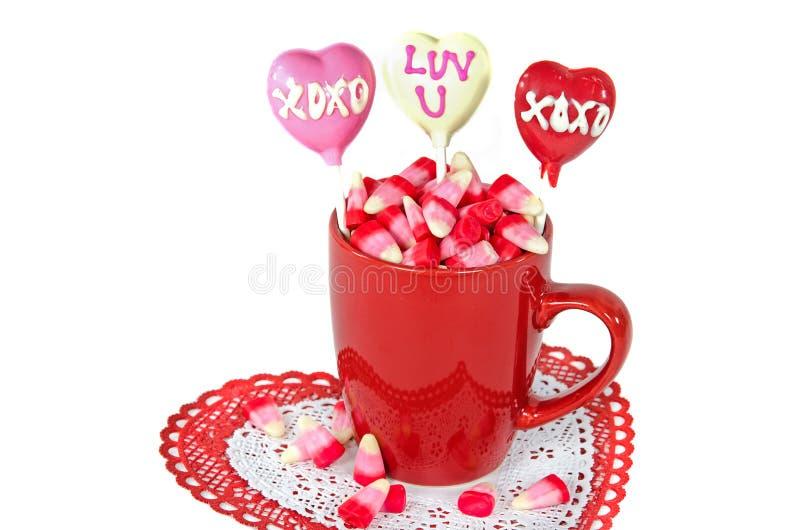 Pirulitos do dia de Valentim fotos de stock