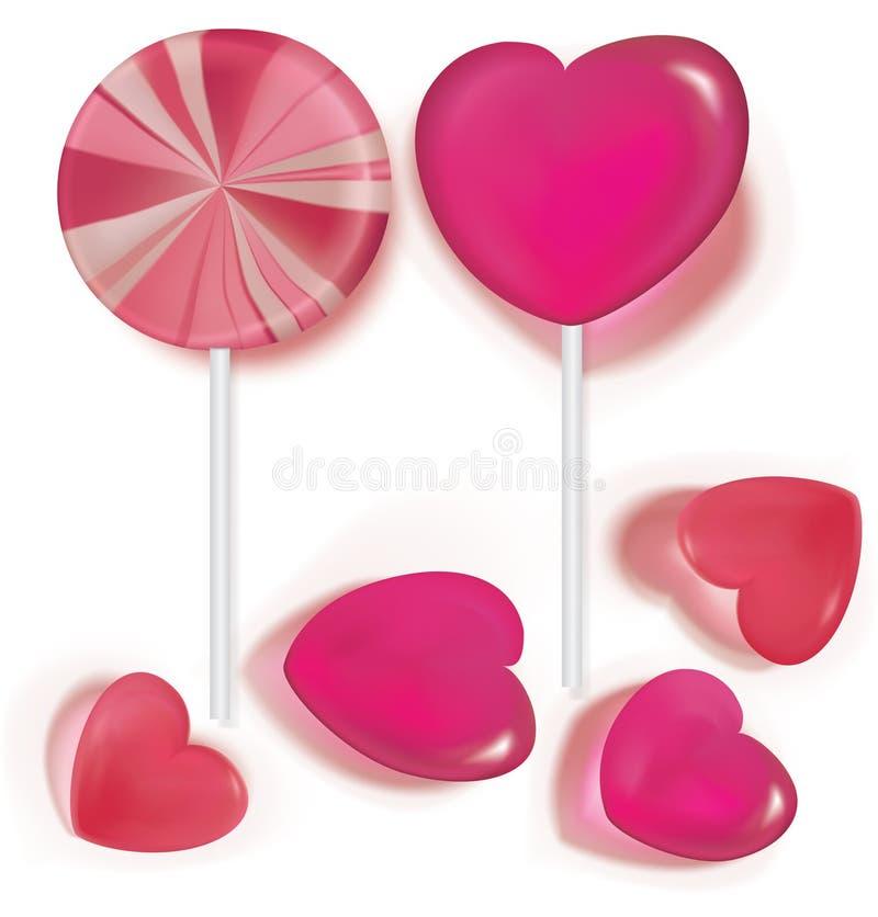 Pirulitos e coração dos doces dado forma no branco ilustração stock