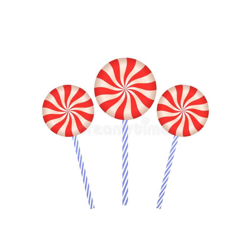 Pirulitos na vara Caramelo colorido Doces cor-de-rosa redondos doces no close up da vara 3d Ilustração lisa do vetor em um branco ilustração stock