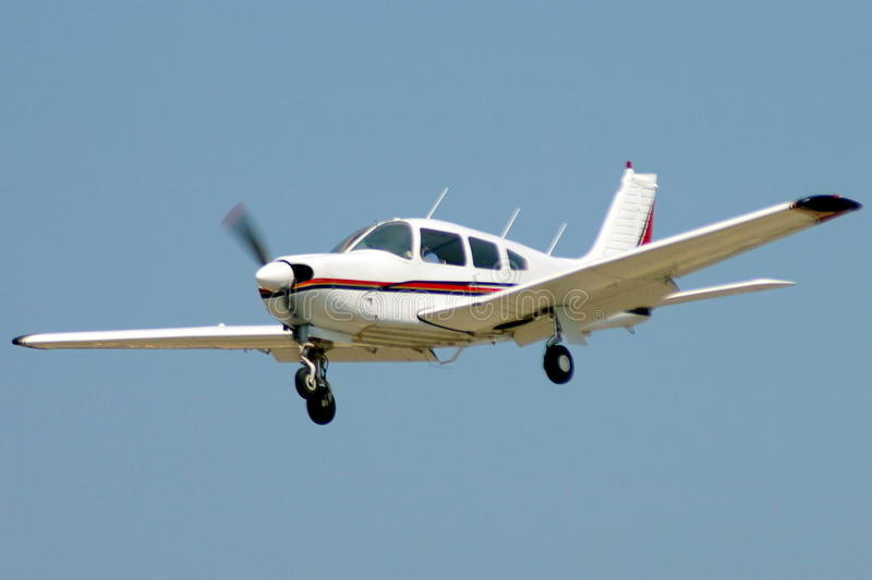 Private aircraft on approach stock photography