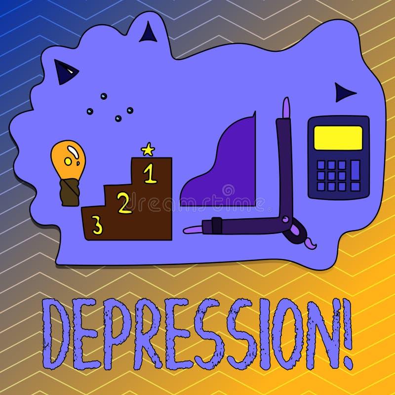 Pisać nutowej pokazuje depresji Biznesowa fotografia pokazuje praca stres z bezsennymi nocami ma niepokoju nieład royalty ilustracja