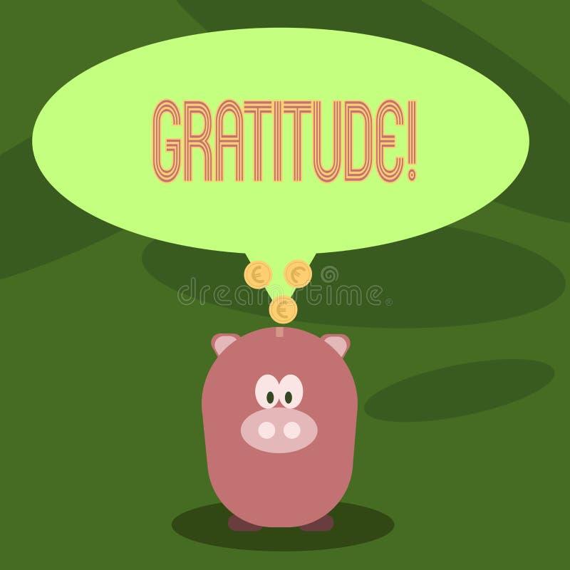 Pisać nutowej pokazuje wdzięczności Biznesowa fotografia pokazuje ilość być dziękczynnym docenienia dziękczynnością ilustracja wektor