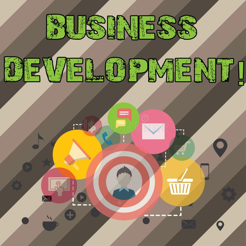 Pisać nutowym pokazuje rozwoju biznesu Biznesowy fotografii pokazywać Rozwija organizacja przyrosta i Uprawomocnia ilustracja wektor