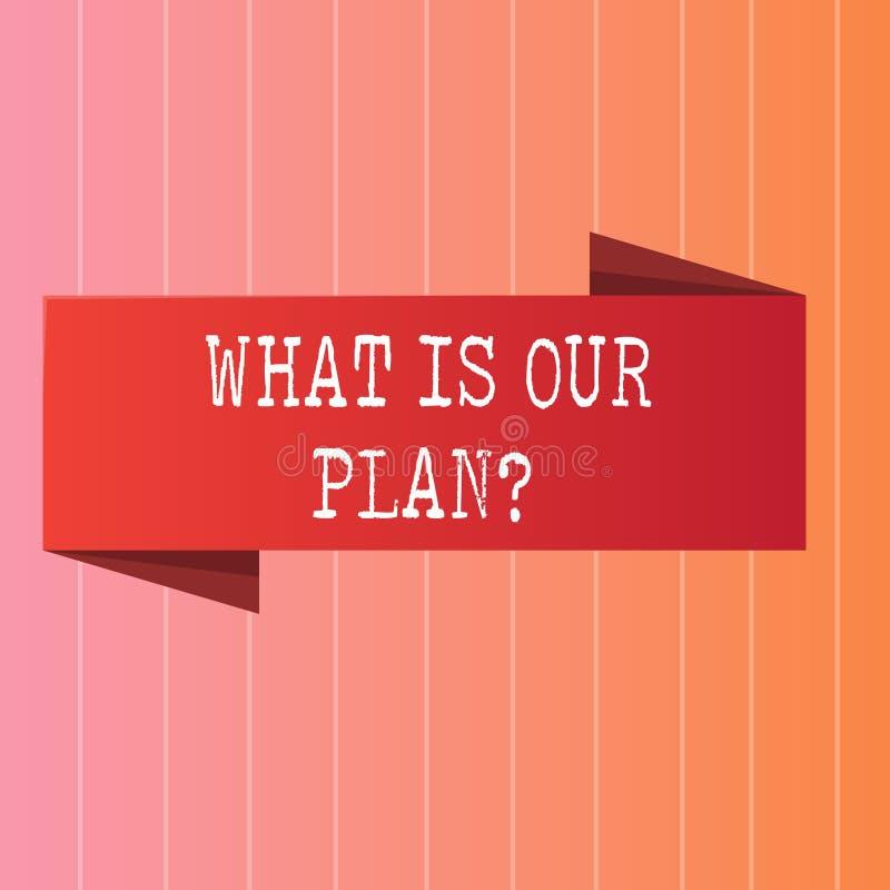 Pisać nutowym seansie Co Jest Nasz Planquestion Biznesowa fotografia pokazuje misję Zamierza agendy Strategize Brainstorming royalty ilustracja