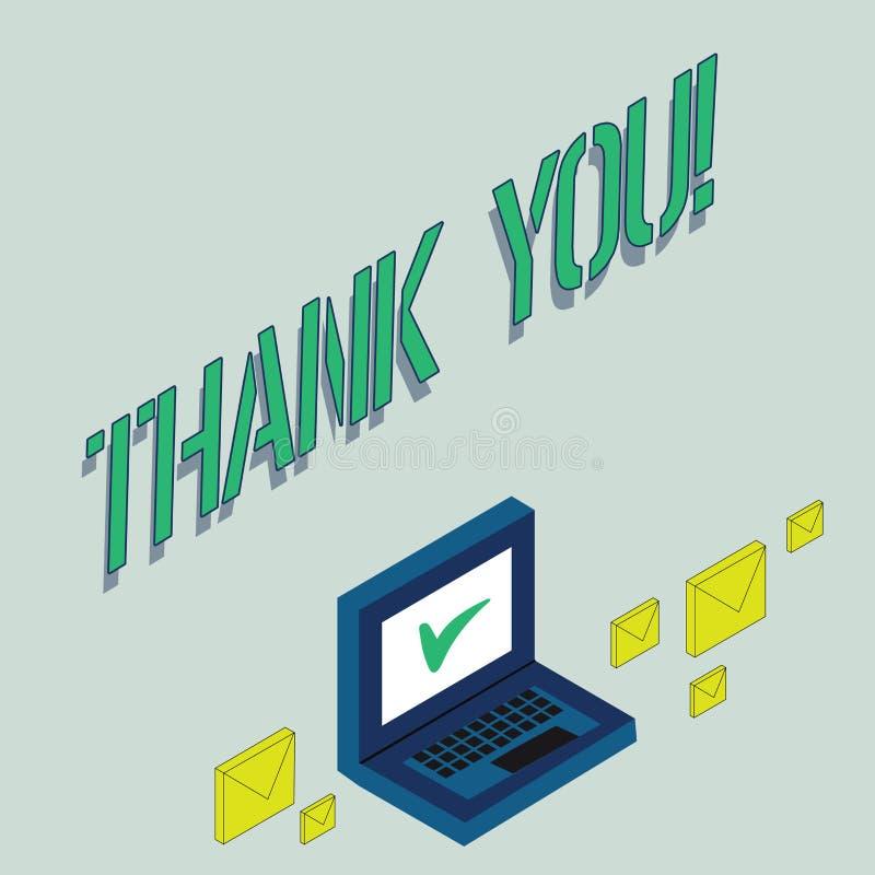 Pisać nutowym seansie Dziękuje Ciebie Biznesowa fotografia pokazuje docenienia powitania przyznania wdzięczność ilustracja wektor