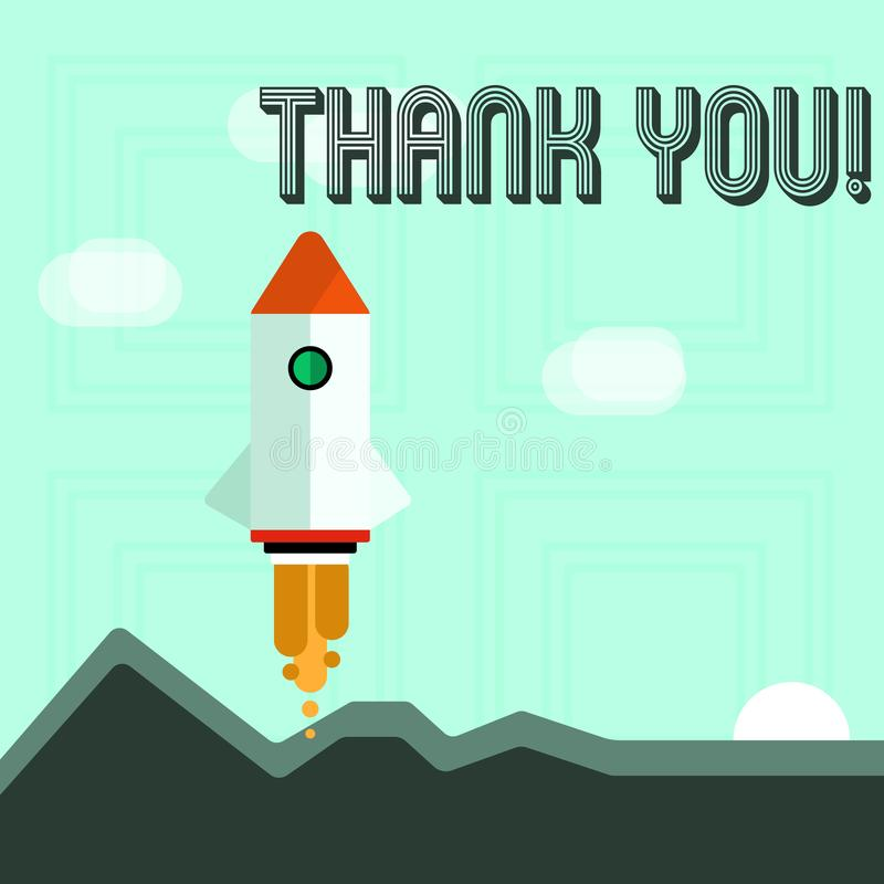 Pisać nutowym seansie Dziękuje Ciebie Biznesowa fotografia pokazuje docenienia powitania przyznania wdzięczność royalty ilustracja