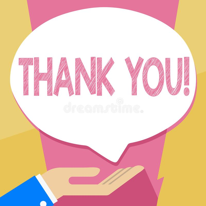 Pisać nutowym seansie Dziękuje Ciebie Biznesowa fotografia pokazuje docenienia powitania przyznania wdzięczność ilustracji
