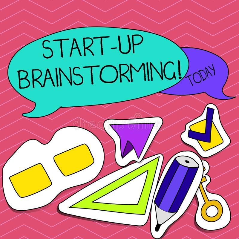 Pisać nutowym seansie Zaczyna W górę Brainstorming Biznesowa fotografia pokazuje Drużynową pracę dla robić strategii nowy biznes ilustracja wektor