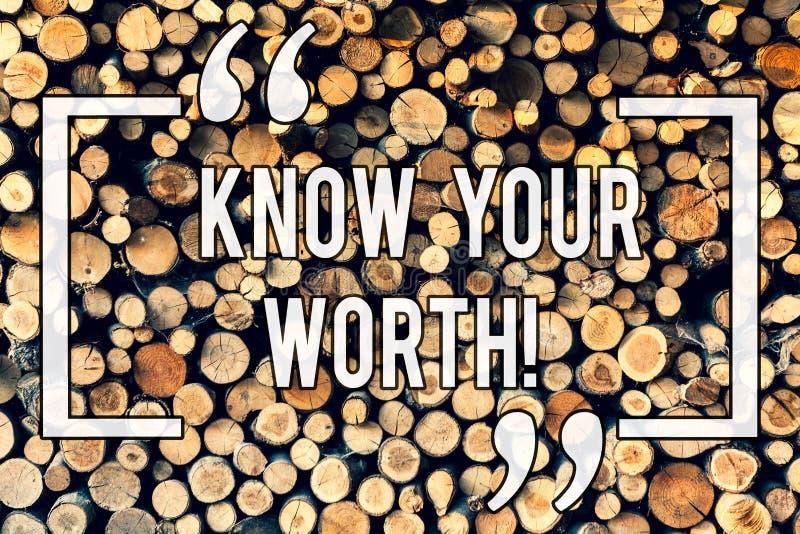 Pisać nutowym seansie Zna Twój Worth Biznesowy fotografii pokazywać Był świadomy demonstratingal wartość Zasługująca dochód pensj obrazy stock