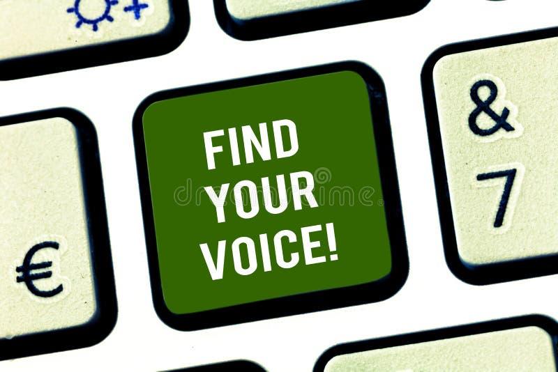 Pisać nutowym seansie Znajduje Twój głos Biznesowa fotografia pokazuje Być sprawnie ono wyrażać jako pisarz mówić obrazy stock