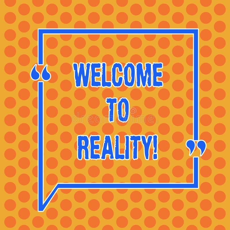 Pisać nutowym seansu powitaniu rzeczywistość Biznesowa fotografia pokazuje stan rzeczy właściwie istnieją jak przeciwstawiający ilustracji