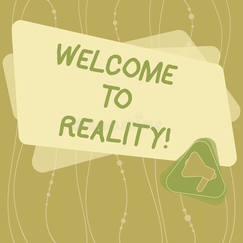Pisać nutowym seansu powitaniu rzeczywistość Biznesowa fotografia pokazuje stan rzeczy właściwie istnieją jak przeciwstawiający i ilustracji